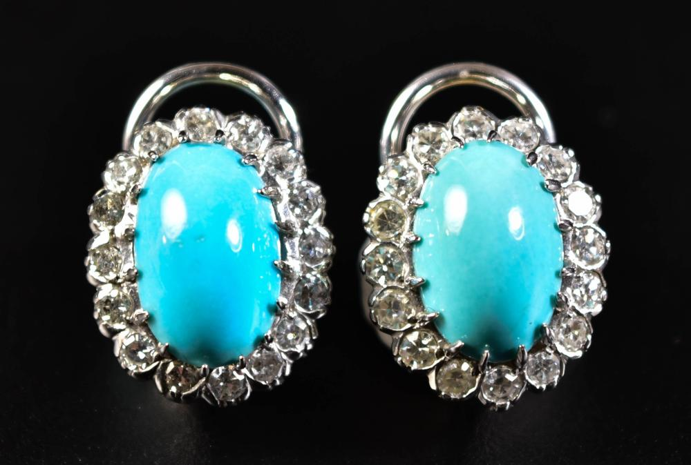 PAIR OF 14K GOLD, DIAMOND AND TURQUOISE EARRINGS