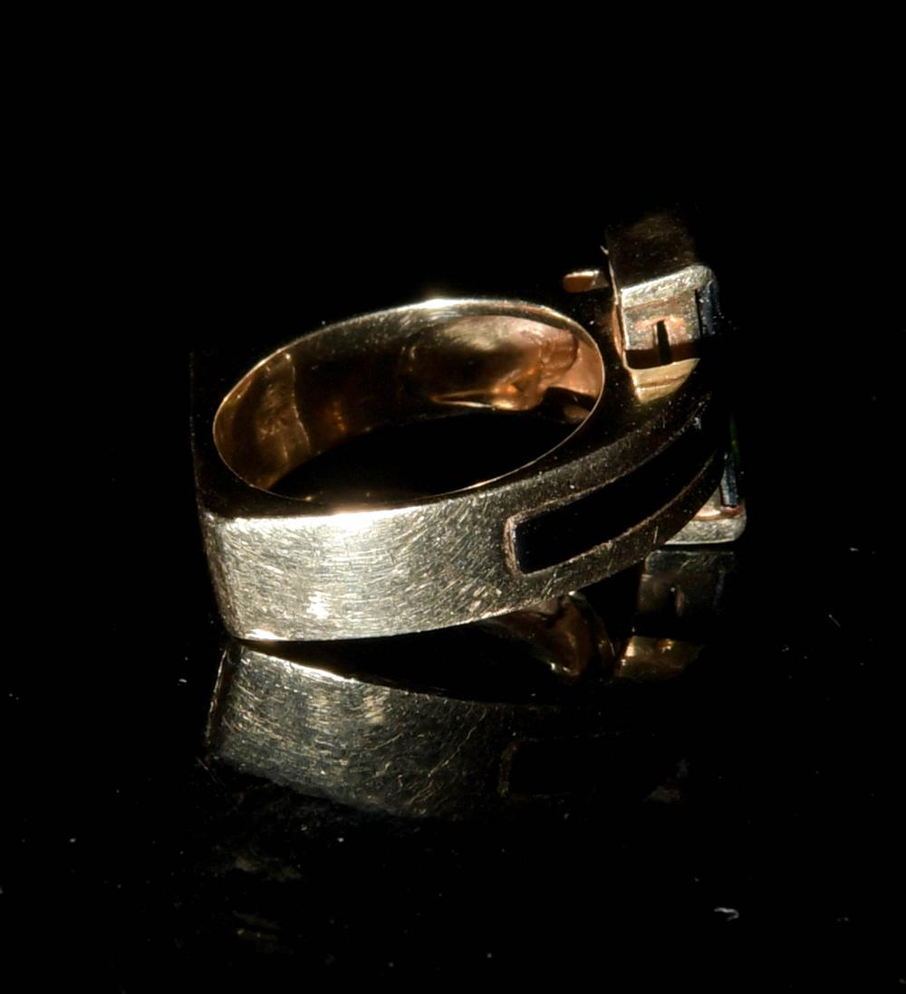 14K GOLD MID-CENTURY MODERN RING WITH DIAMONDS AND ONYX