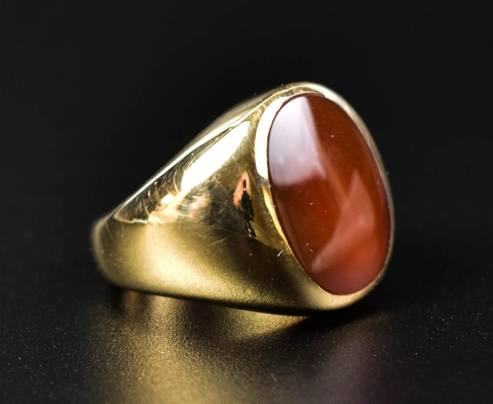 10K HEAVY GOLD RING WITH POLISHED CARNELIAN