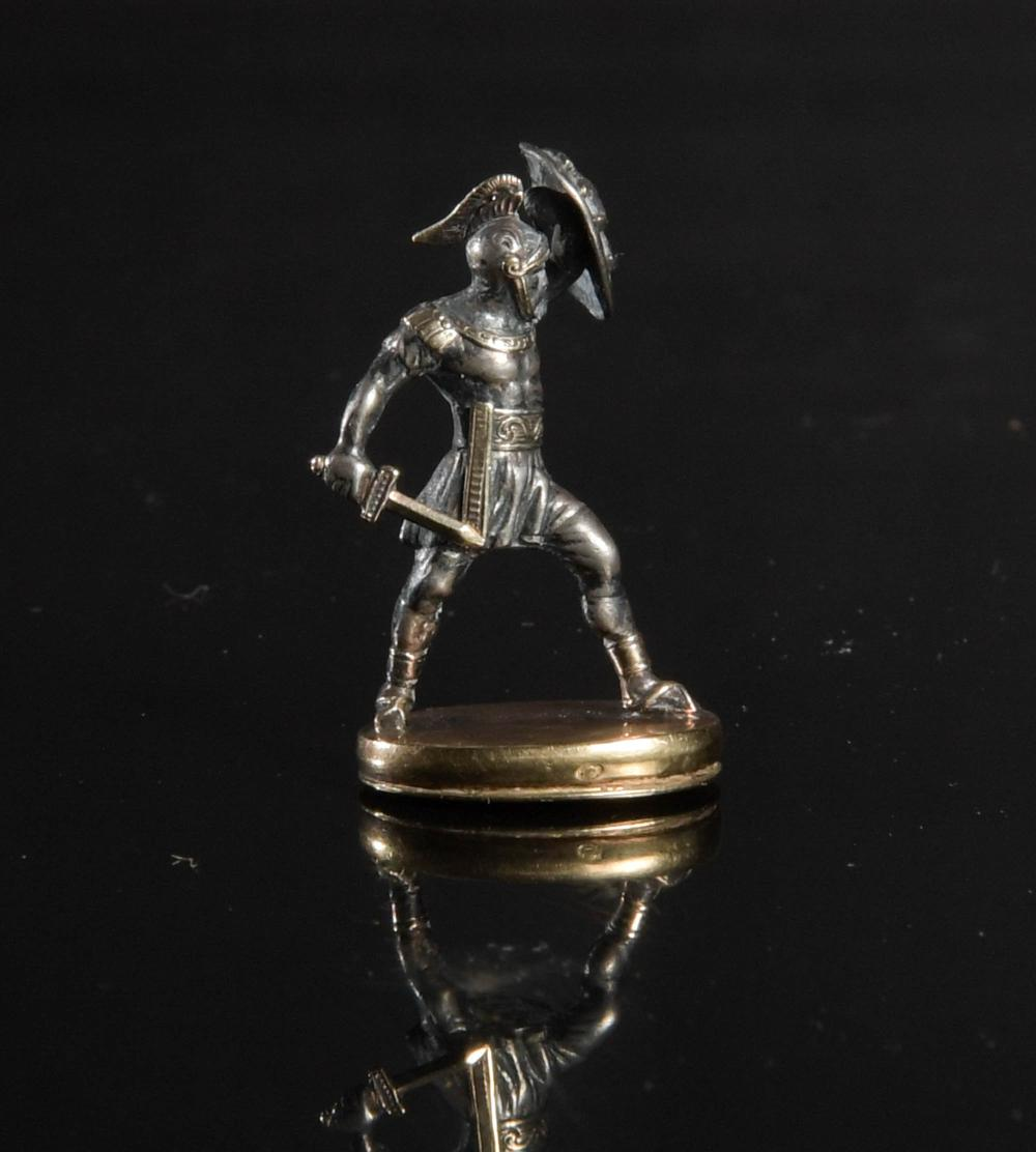 SILVER AND GOLD MINIATURE ROMAN SOLDIER LOCKET