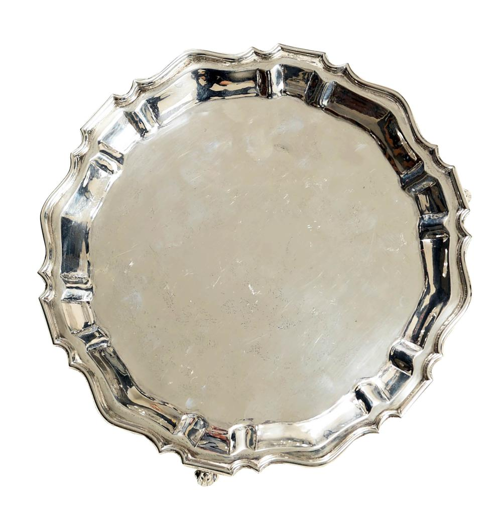 18TH/19TH CENTURY CHIPPENDALE STERLING SILVER TRAY