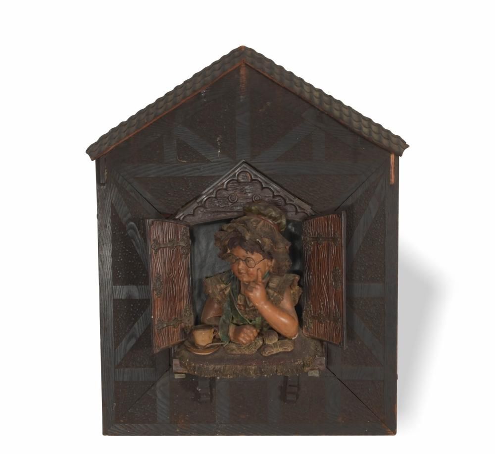 19TH CENTURY GERMAN WOOD AND TERRACOTTA PLAQUE