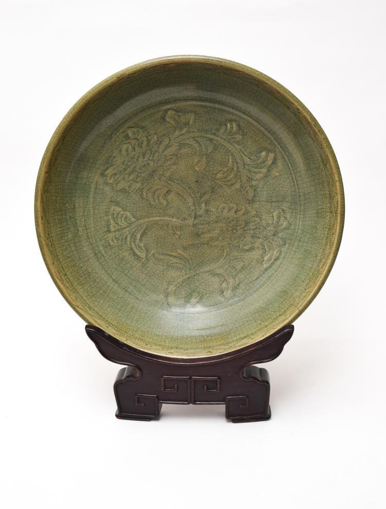 CHINESE CELADON PLATE W/ BASE, YUAN DYNASTY