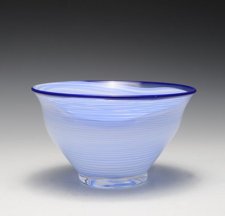 Blue & White Filigrana Art Glass Bowl