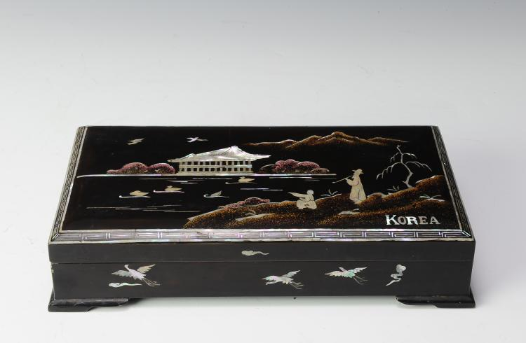 Mother of Pearl & Lacquer Box, Korea