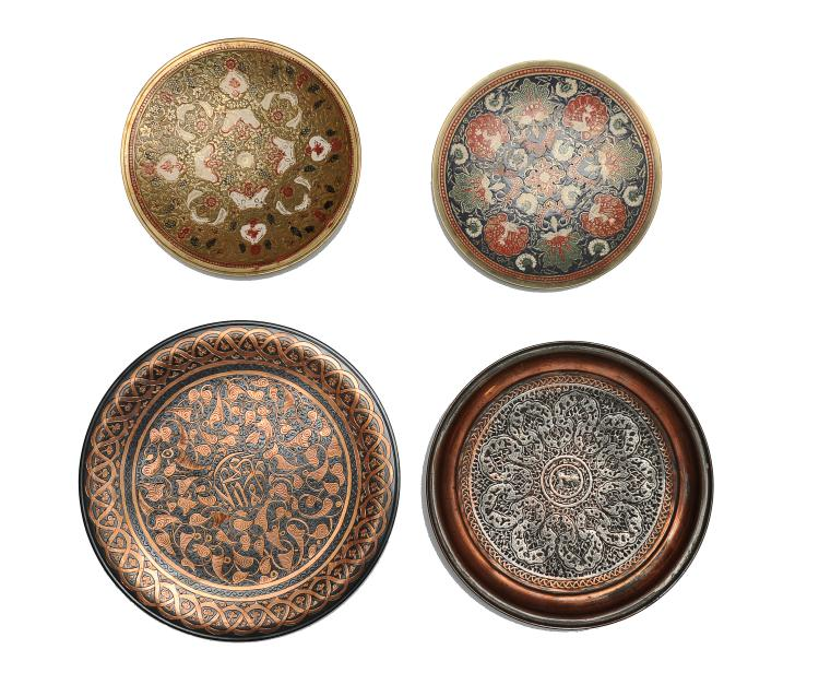 Group of 4 decorative metal plates