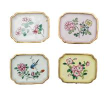 Four Brass Enamel Trays