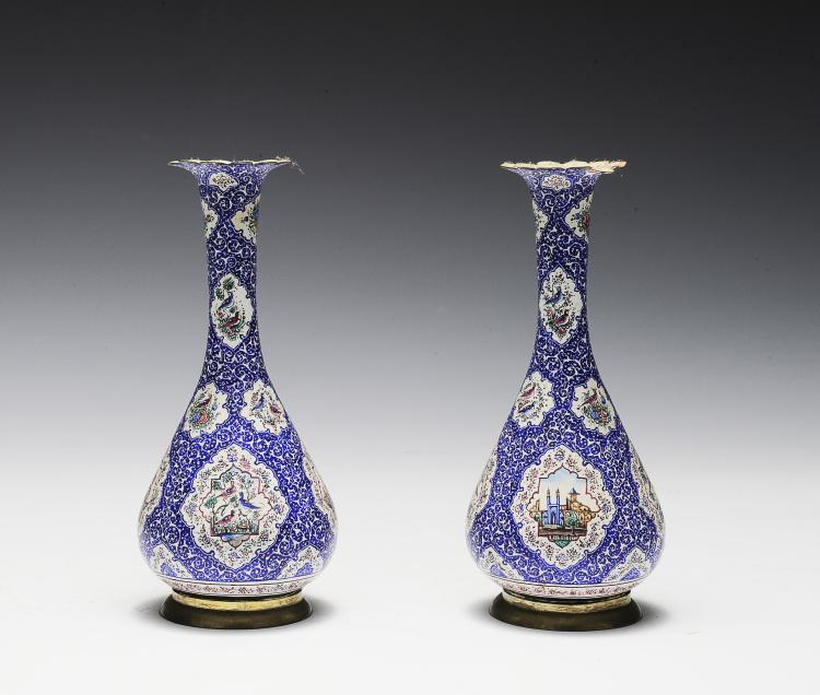 Pair of Blue and White Enameled Vases