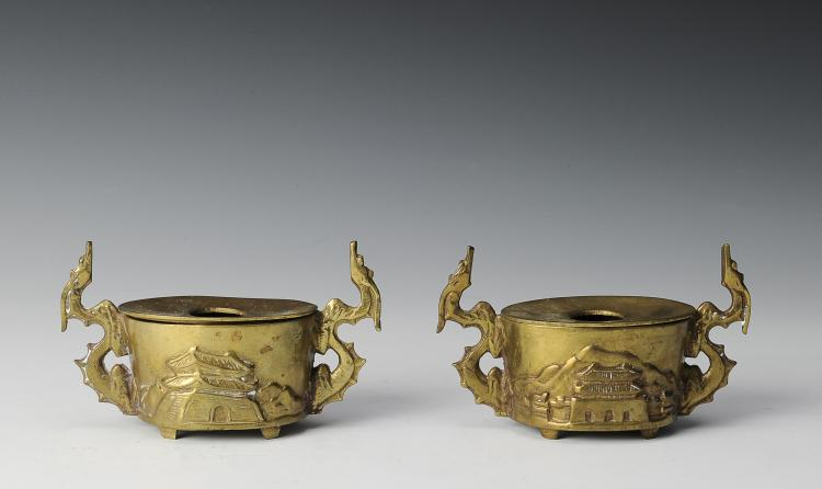 Pair of Brass Candler Holders, South Korea