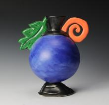 Blue Glass Vase, M. Hall