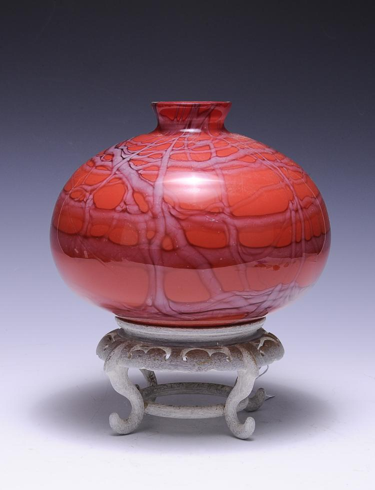 Red Glass Art Vase w/ Stand