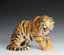 Vintage Porcelain Tiger Figure, Italy