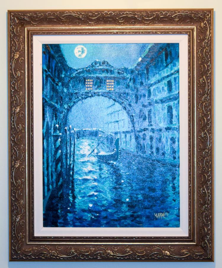 Blue Moon Over Venice, Giclee on Canvas