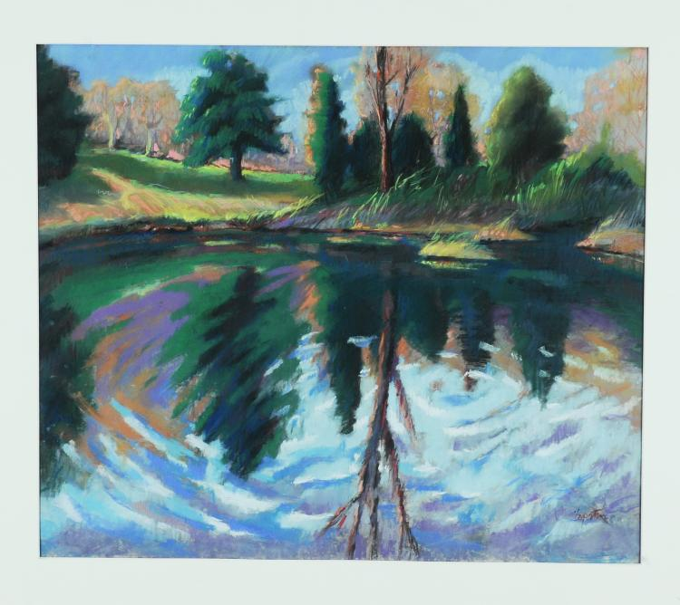 Pine Trees and Pond, Pastel, Carol Lopatin