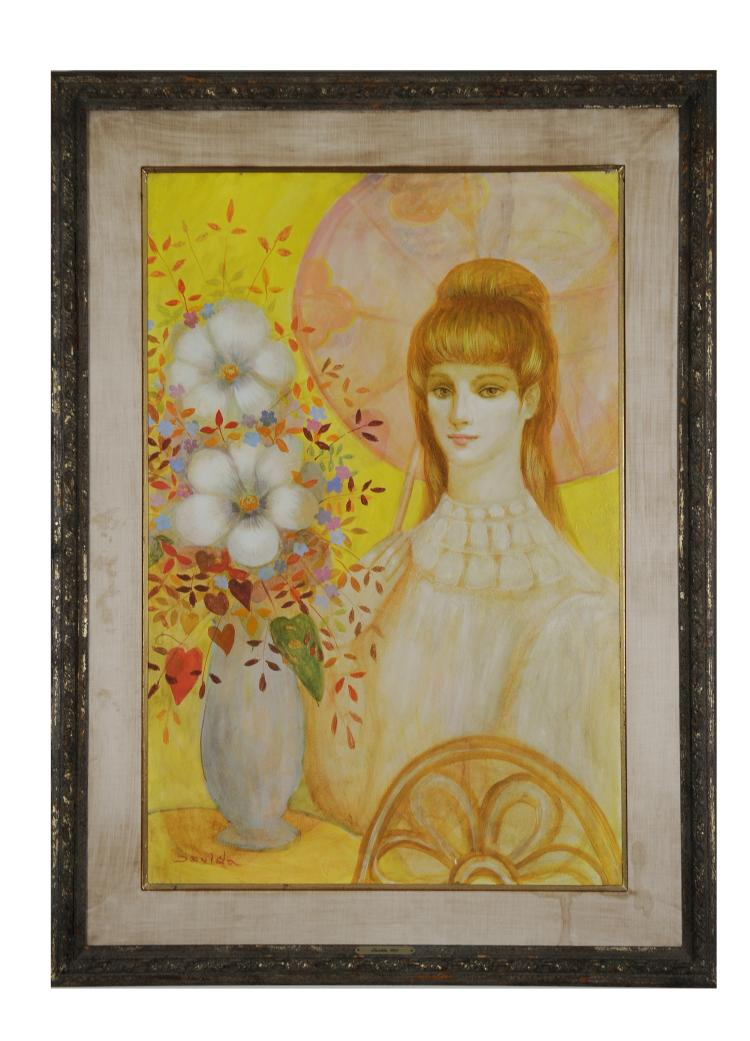 Oil of Woman w/ Flowers, Isolda Hermes Da Fonseca