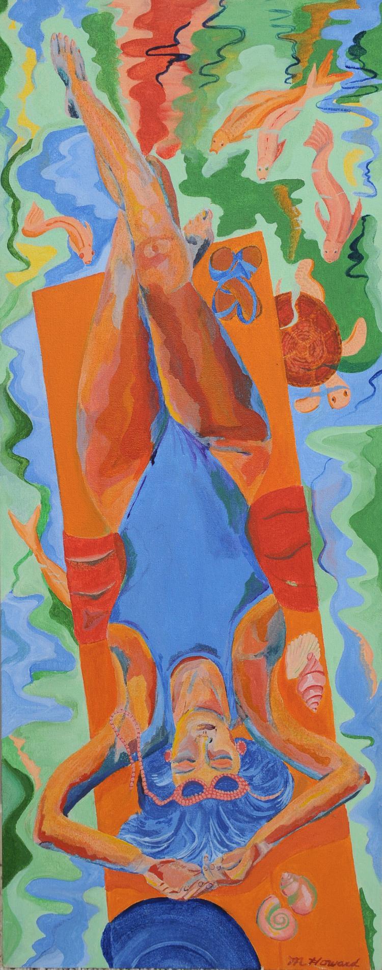 Woman on Raft, Oil on Canvas, Mary Howard