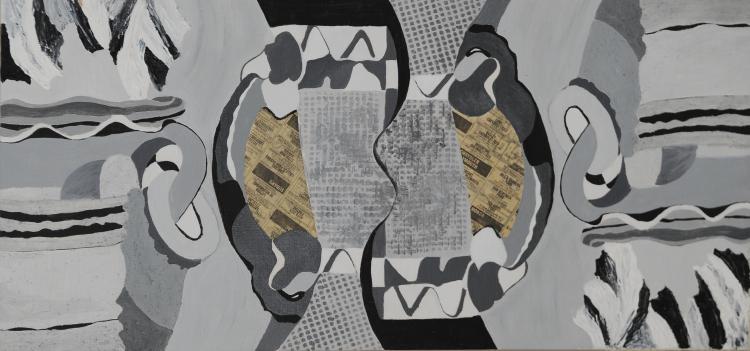 Newspaper Abstract, Mixed Media, Mary Howard