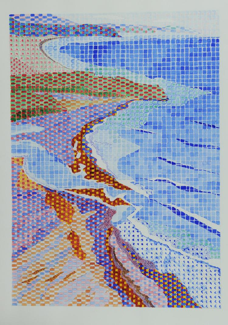 Gridded Watercolor Shoreline Scene, Mary Howard