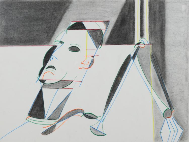 Geometric Pastel and Charcoal of Man, Mary Howard