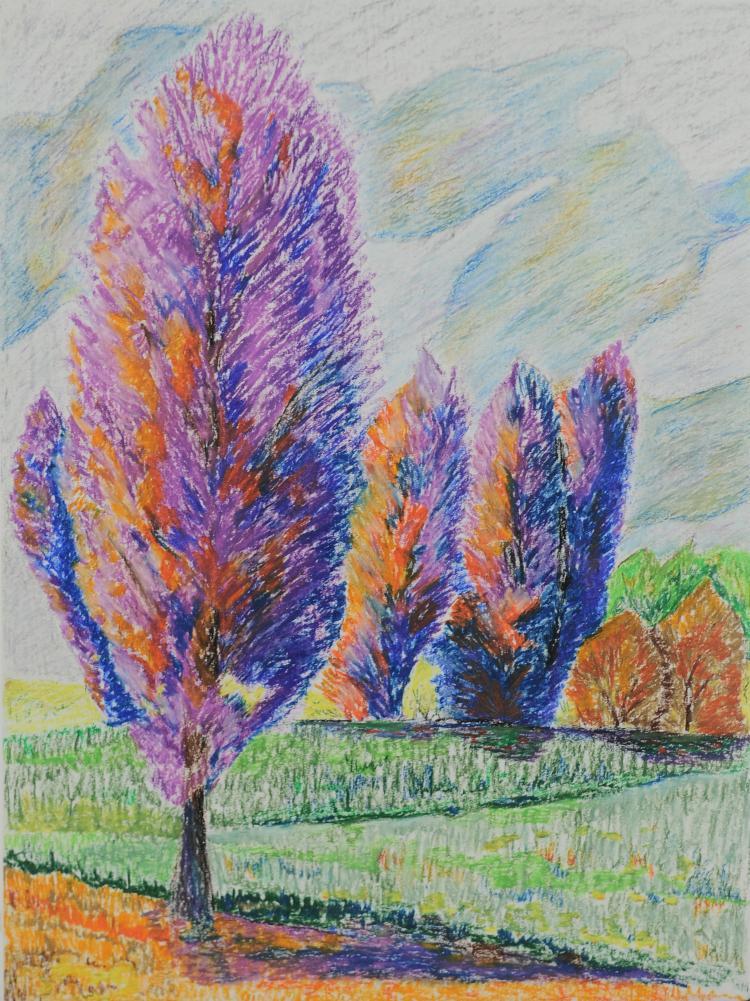 Purple Trees, Pastel, Mary Howard