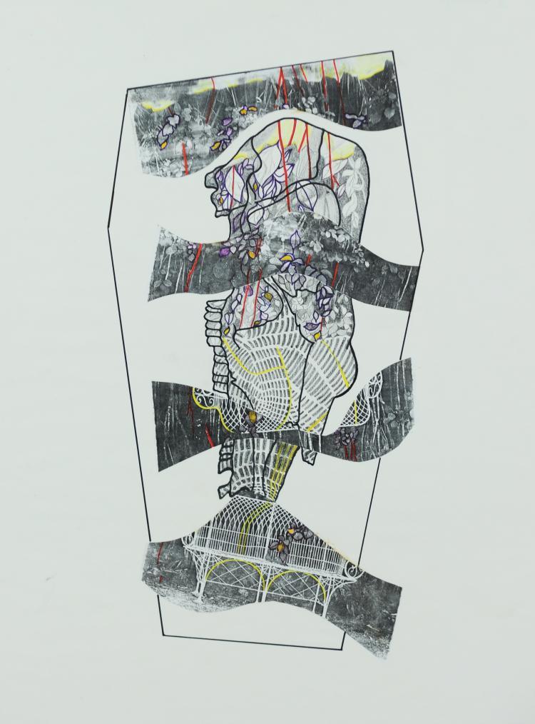 Black and White Garden Mixed Media, Mary Howard
