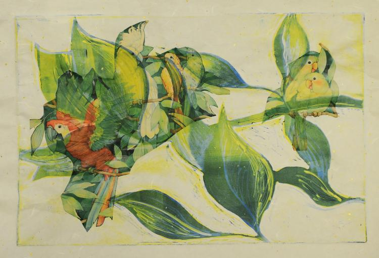 Collage of Tropical Birds, Mary Howard