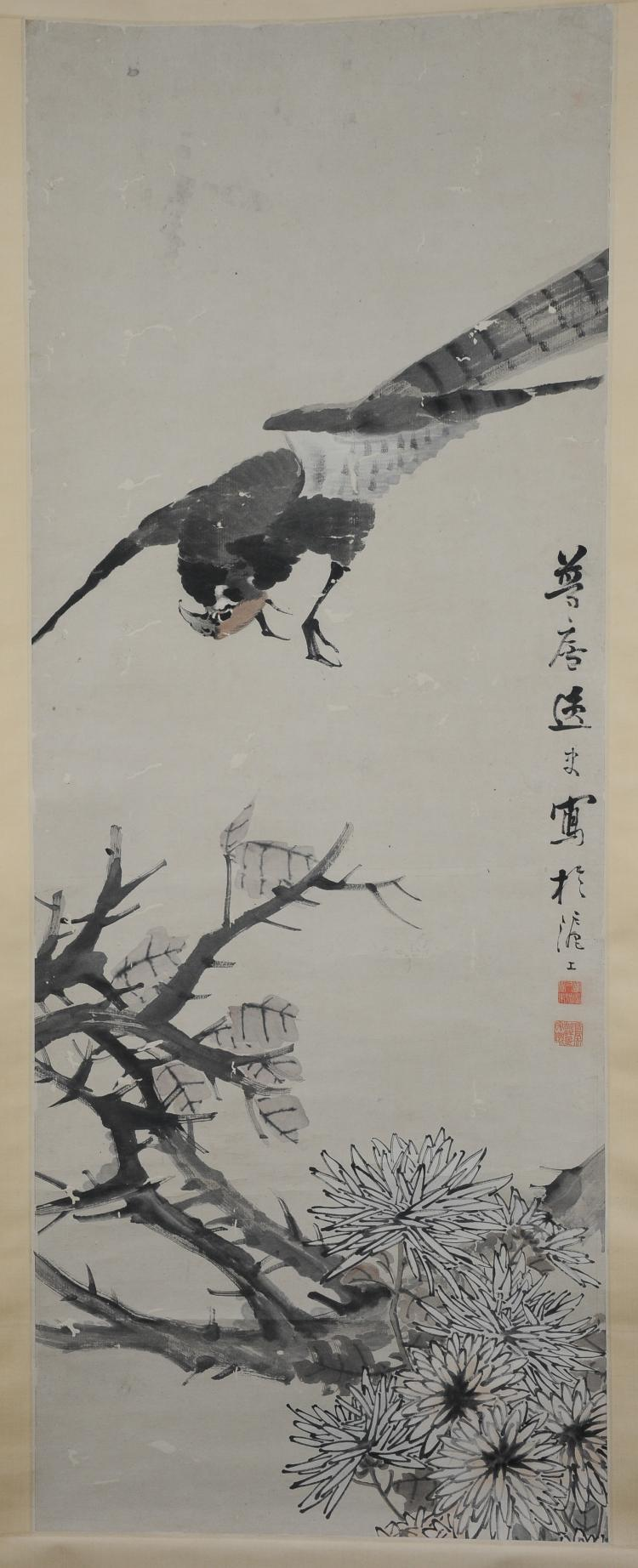 Flower & Bird Painting by Zhu Menglu (1826-1900)
