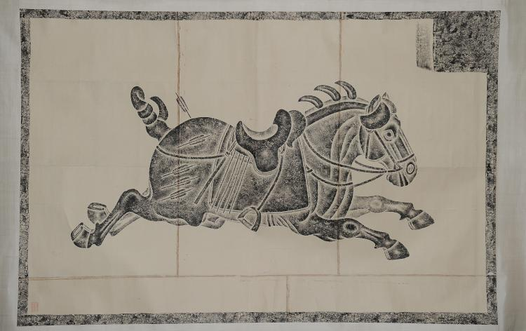 Rubbing of a Horse on Scroll