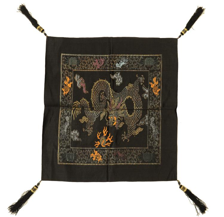 5-Claw Dragon, Black Pillowcase, 19th Century