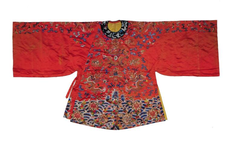 Small Red Ground Silk Dragon Robe, 19th Century