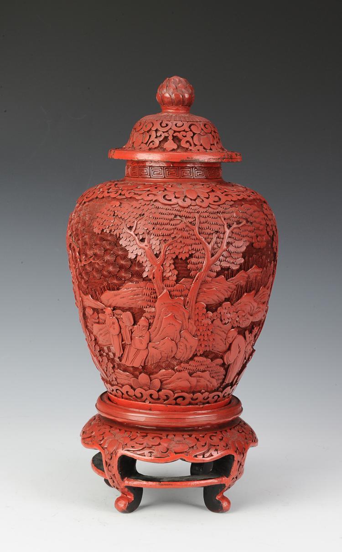 Cinnabar Lidded Jar & Stand
