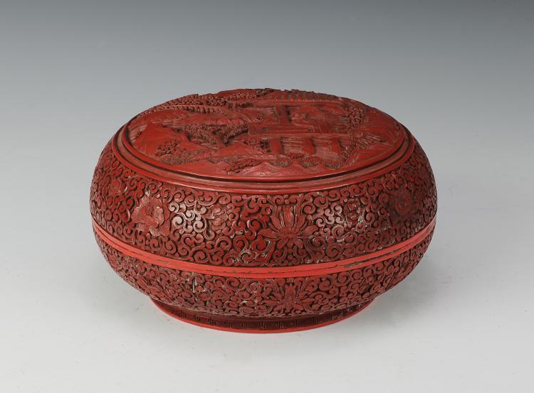 Circular Cinnabar Box