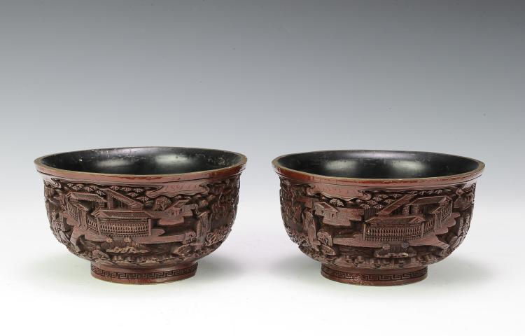 Pair of Cinnabar Bowls