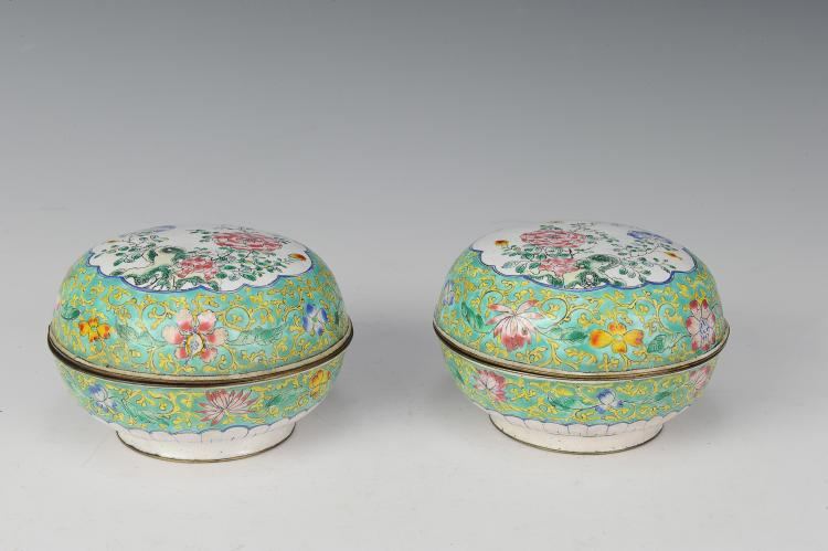 Pair of Round Enamel Boxes