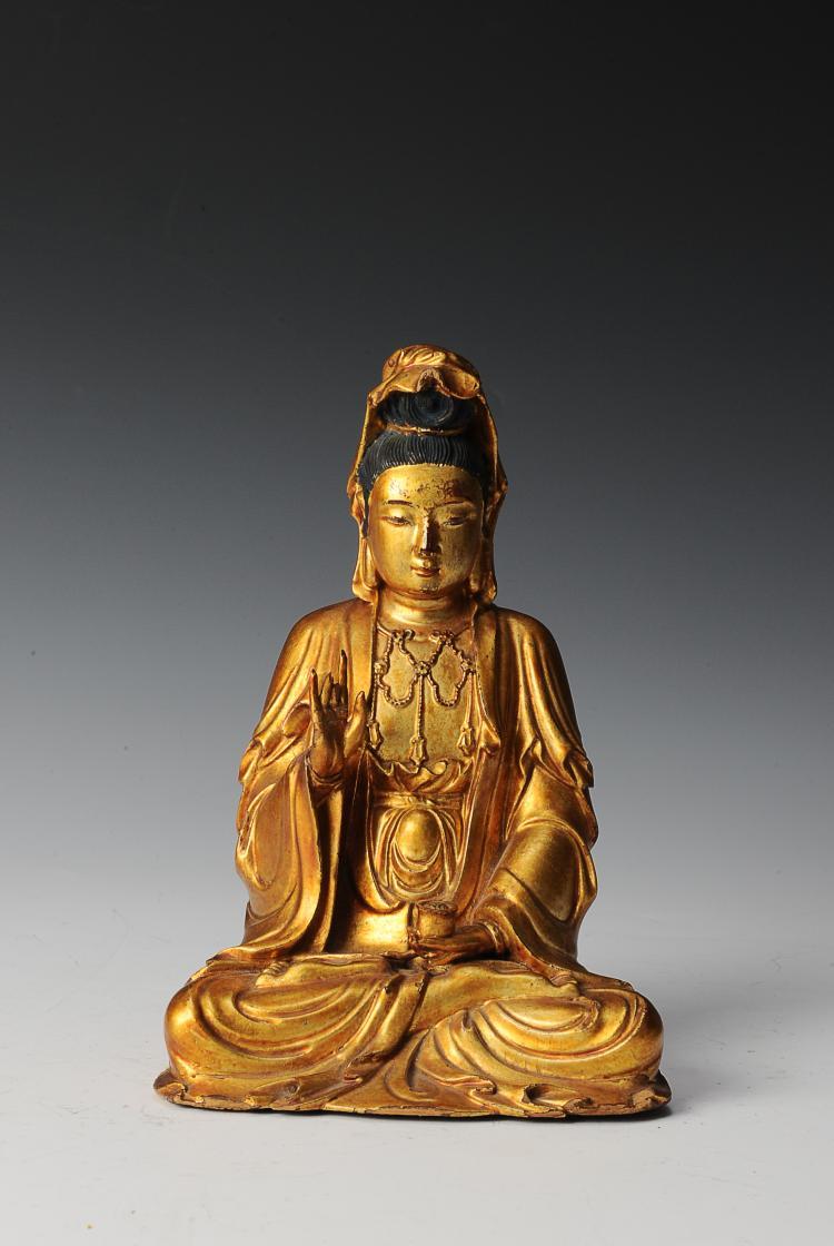 Gilt Wooden Bodhisattva