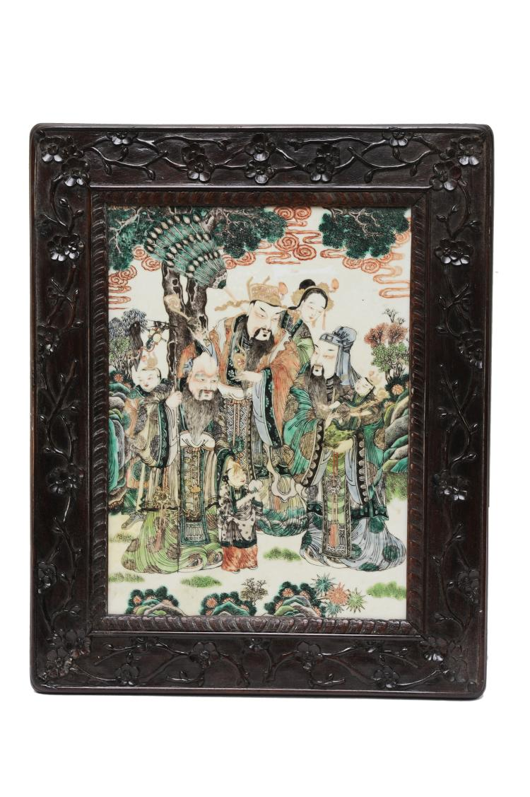 Famille Verte Porcelain Plaque, Late 19th Century