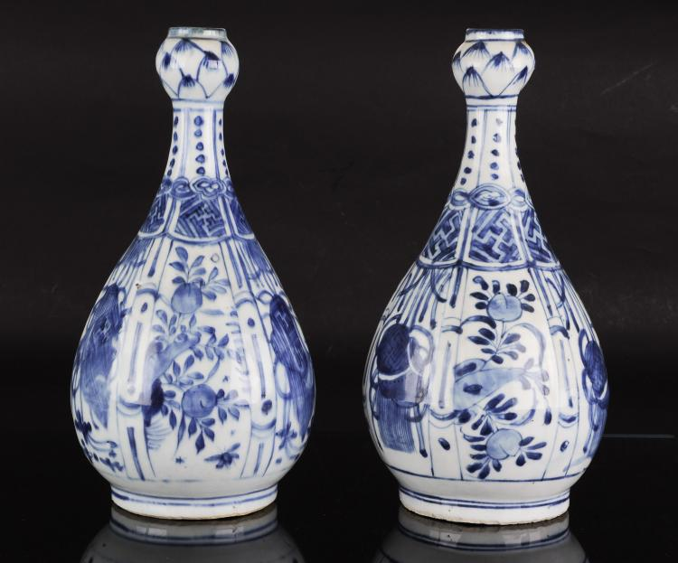 Pair of Blue & White Garlic-Head Vases, Wanli