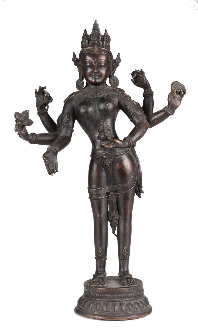 Nepalese Bronze Six-Armed Standing Bodhisattva