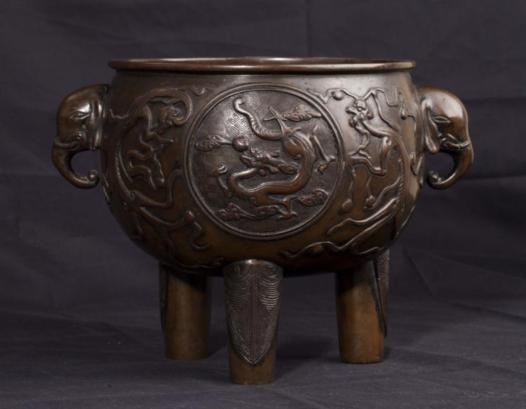 Bronze Tripod Incense Burner, 19th Century