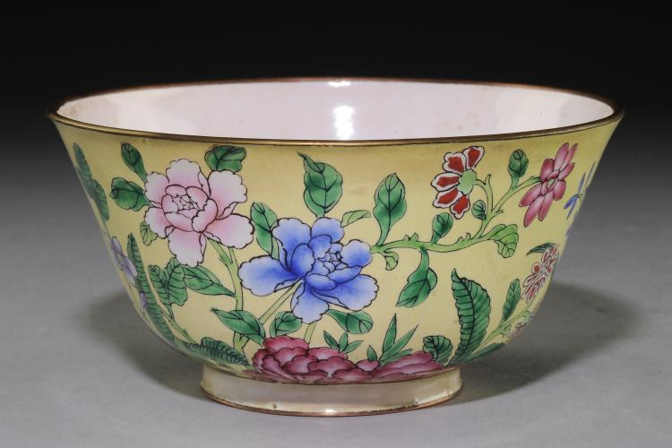 Yellow Cloisonné Bowl with Flowers, 19th Century