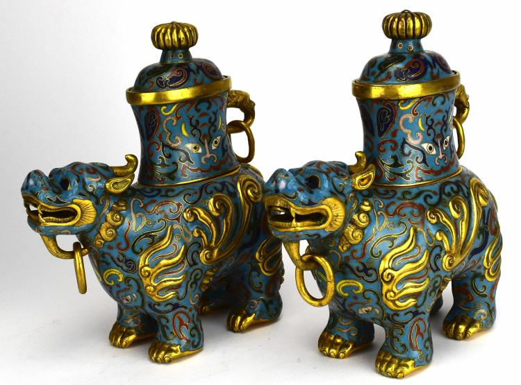 Pair of Cloisonné Qilin Vases, 20th Century