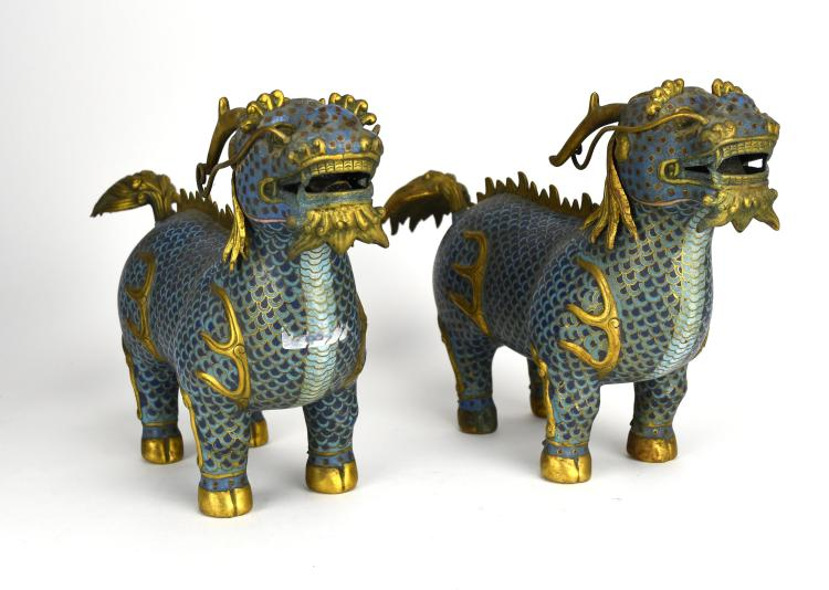 Two Cloisonné Qilin, Early 20th Century