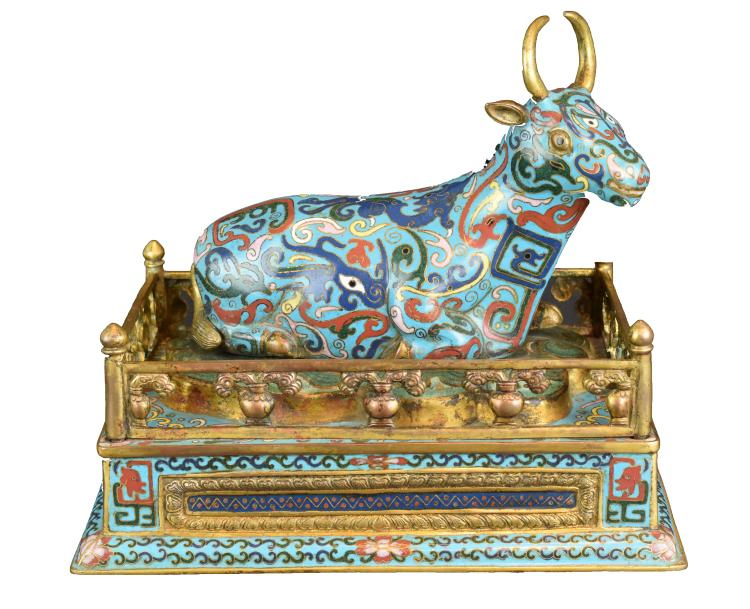 A Chinese Cloisonné Bull, 20th Century