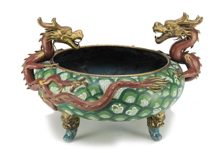 Large Two Dragon Cloisonné Incense Burner