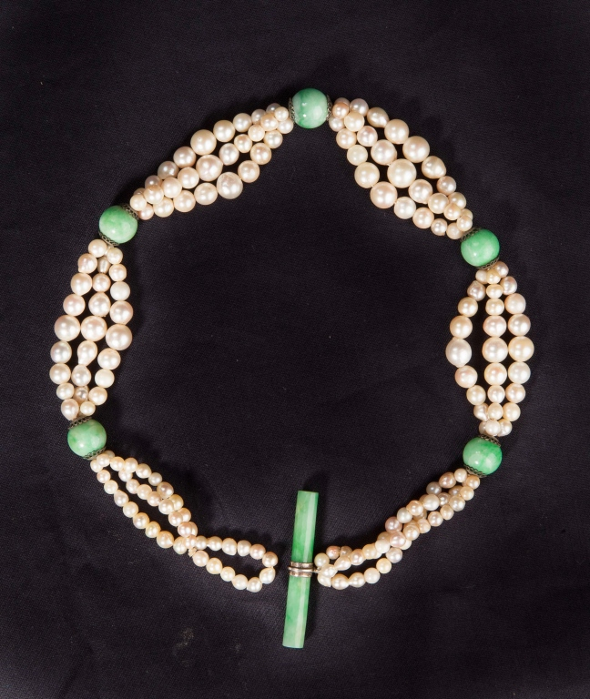 Pearl Choker with Jadeite Beads & Toggle
