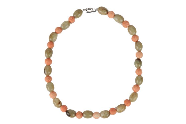 Coral & Celadon Jade Bead Necklace, 19th Century