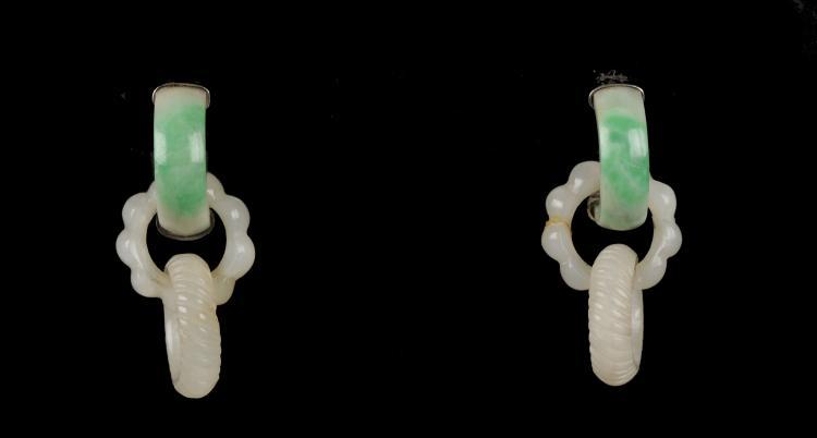 Pair of Jadeite & Jade Earrings