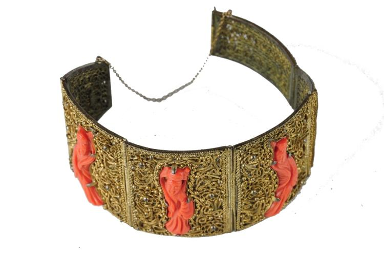 Gilt Bronze & Coral Bracelet, Early 20th Century