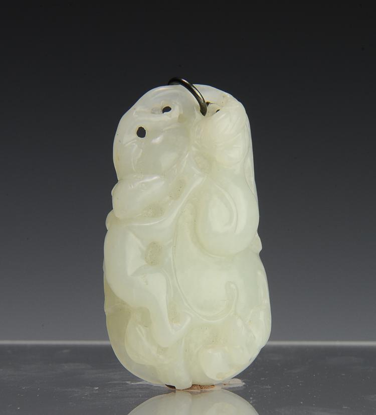 Carved White Jade Toggle, 19th Century