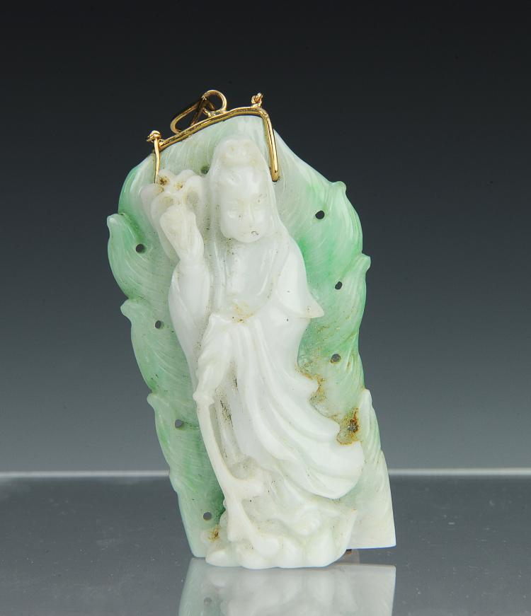 Carved Jadeite Pendant of Guanyin, Early 20th Cent